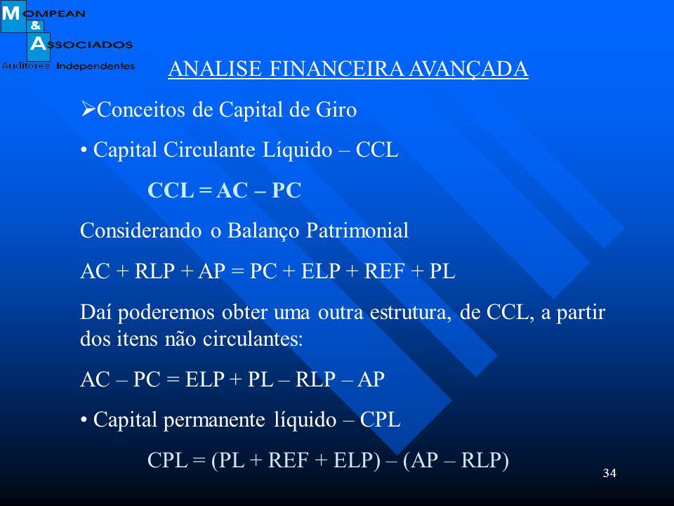 34 ANALISE FINANCEIRA AVANÇADA  Conceitos de Capital de Giro Capital Circulante Líquido – CCL CCL = AC – PC Considerando o Balanço Patrimonial AC + R