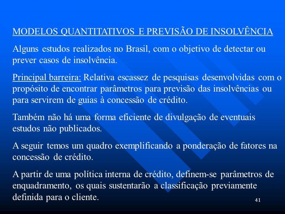 41 MODELOS QUANTITATIVOS E PREVISÃO DE INSOLVÊNCIA Alguns estudos realizados no Brasil, com o objetivo de detectar ou prever casos de insolvência. Pri