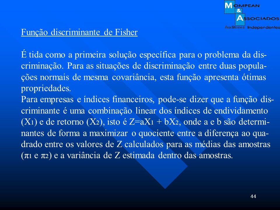 44 Função discriminante de Fisher É tida como a primeira solução específica para o problema da dis- criminação. Para as situações de discriminação ent
