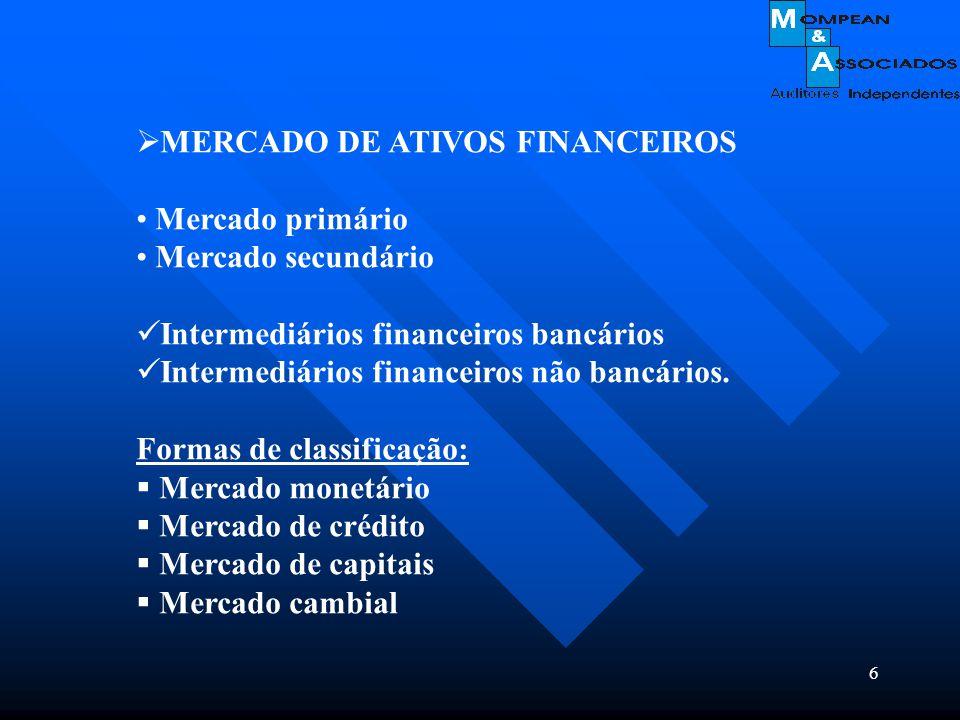 6  MERCADO DE ATIVOS FINANCEIROS Mercado primário Mercado secundário Intermediários financeiros bancários Intermediários financeiros não bancários. F