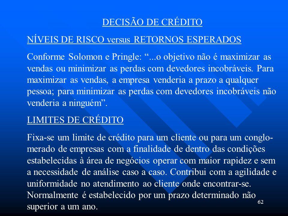 """62 DECISÃO DE CRÉDITO NÍVEIS DE RISCO versus RETORNOS ESPERADOS Conforme Solomon e Pringle: """"...o objetivo não é maximizar as vendas ou minimizar as p"""