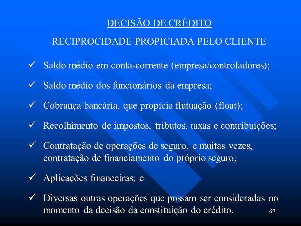 67 DECISÃO DE CRÉDITO RECIPROCIDADE PROPICIADA PELO CLIENTE Saldo médio em conta-corrente (empresa/controladores); Saldo médio dos funcionários da emp