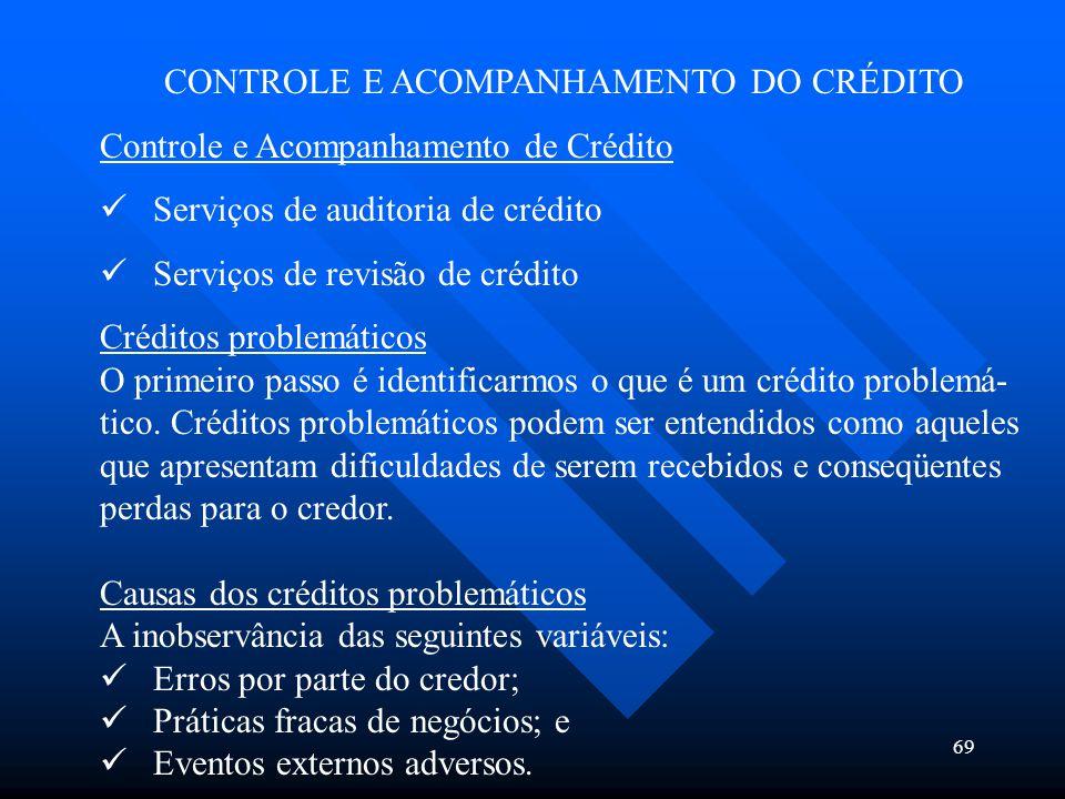 69 CONTROLE E ACOMPANHAMENTO DO CRÉDITO Controle e Acompanhamento de Crédito Serviços de auditoria de crédito Serviços de revisão de crédito Créditos