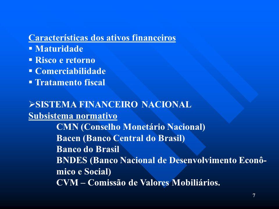 7 Características dos ativos financeiros  Maturidade  Risco e retorno  Comerciabilidade  Tratamento fiscal  SISTEMA FINANCEIRO NACIONAL Subsistem