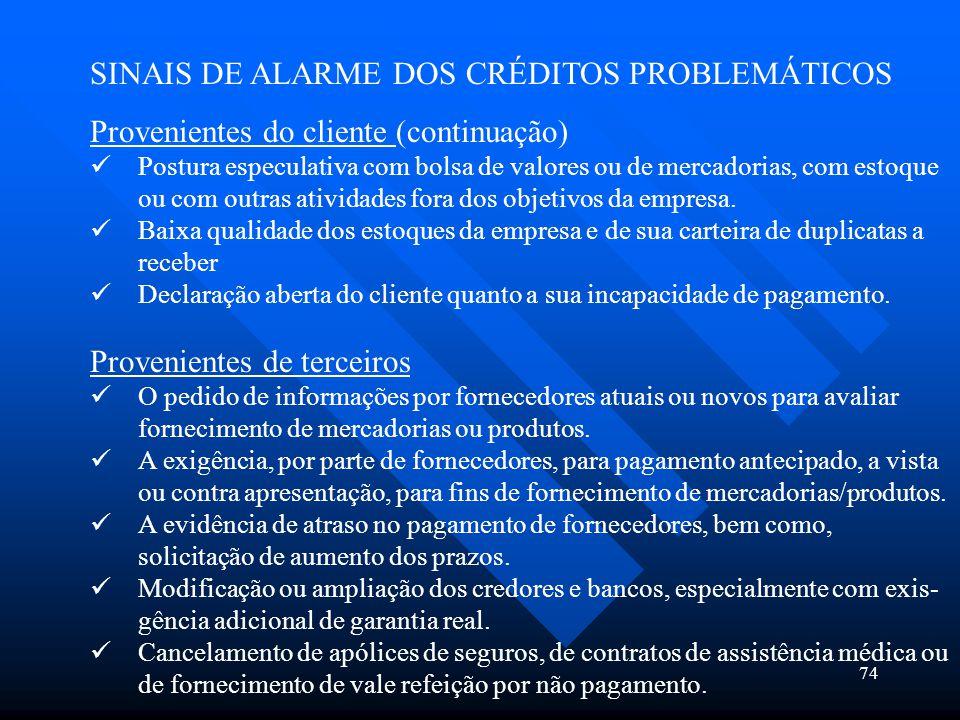 74 SINAIS DE ALARME DOS CRÉDITOS PROBLEMÁTICOS Provenientes do cliente (continuação) Postura especulativa com bolsa de valores ou de mercadorias, com