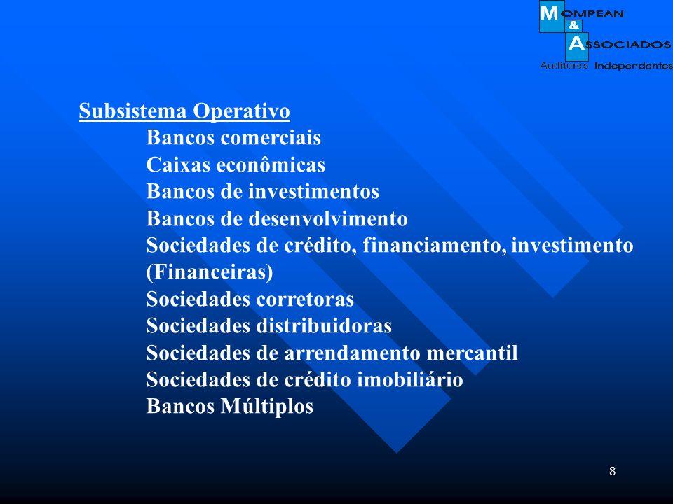 8 Subsistema Operativo Bancos comerciais Caixas econômicas Bancos de investimentos Bancos de desenvolvimento Sociedades de crédito, financiamento, inv