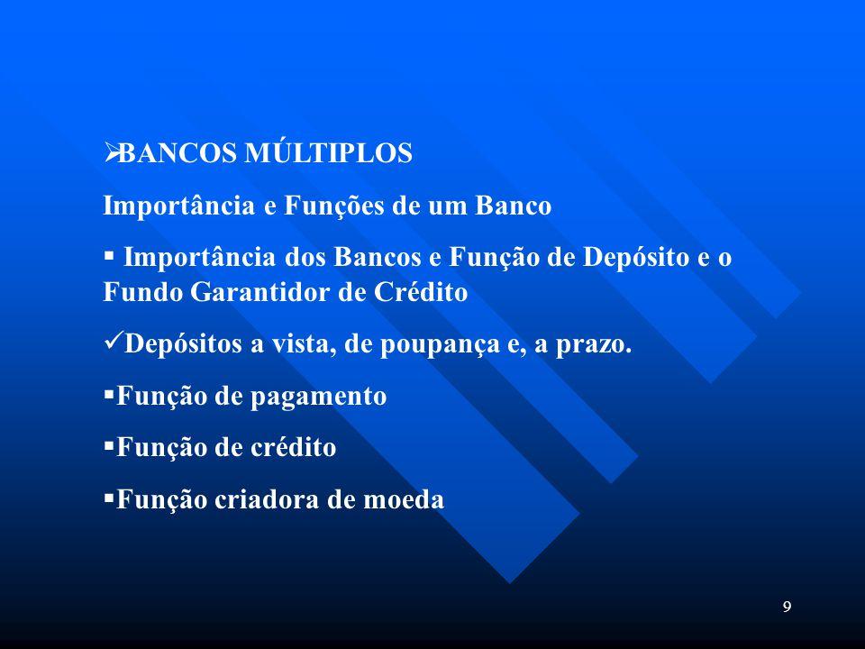 9  BANCOS MÚLTIPLOS Importância e Funções de um Banco  Importância dos Bancos e Função de Depósito e o Fundo Garantidor de Crédito Depósitos a vista