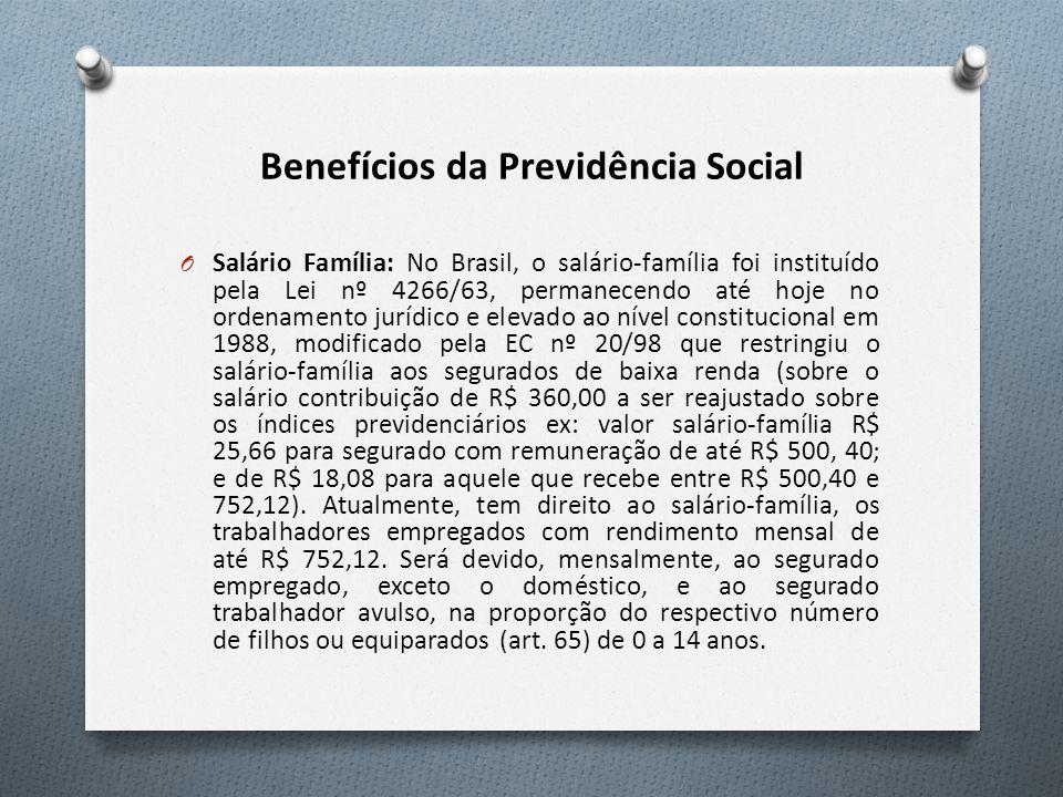 Benefícios da Previdência Social O Salário Família: No Brasil, o salário-família foi instituído pela Lei nº 4266/63, permanecendo até hoje no ordenamento jurídico e elevado ao nível constitucional em 1988, modificado pela EC nº 20/98 que restringiu o salário-família aos segurados de baixa renda (sobre o salário contribuição de R$ 360,00 a ser reajustado sobre os índices previdenciários ex: valor salário-família R$ 25,66 para segurado com remuneração de até R$ 500, 40; e de R$ 18,08 para aquele que recebe entre R$ 500,40 e 752,12).