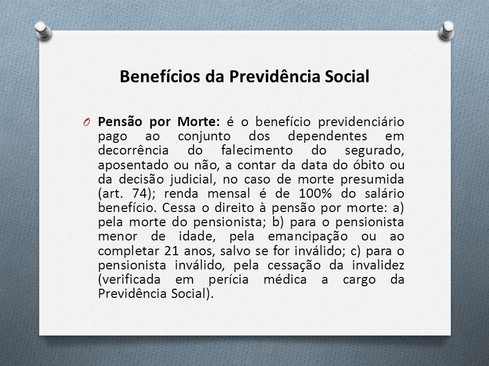 Benefícios da Previdência Social O Pensão por Morte: é o benefício previdenciário pago ao conjunto dos dependentes em decorrência do falecimento do se