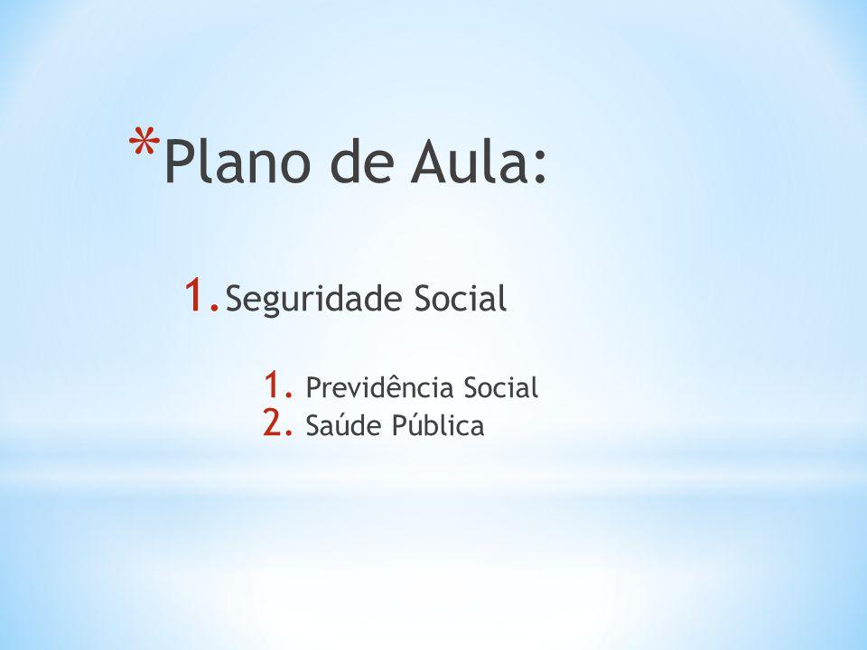 * Plano de Aula: 1. Seguridade Social 1. Previdência Social 2. Saúde Pública
