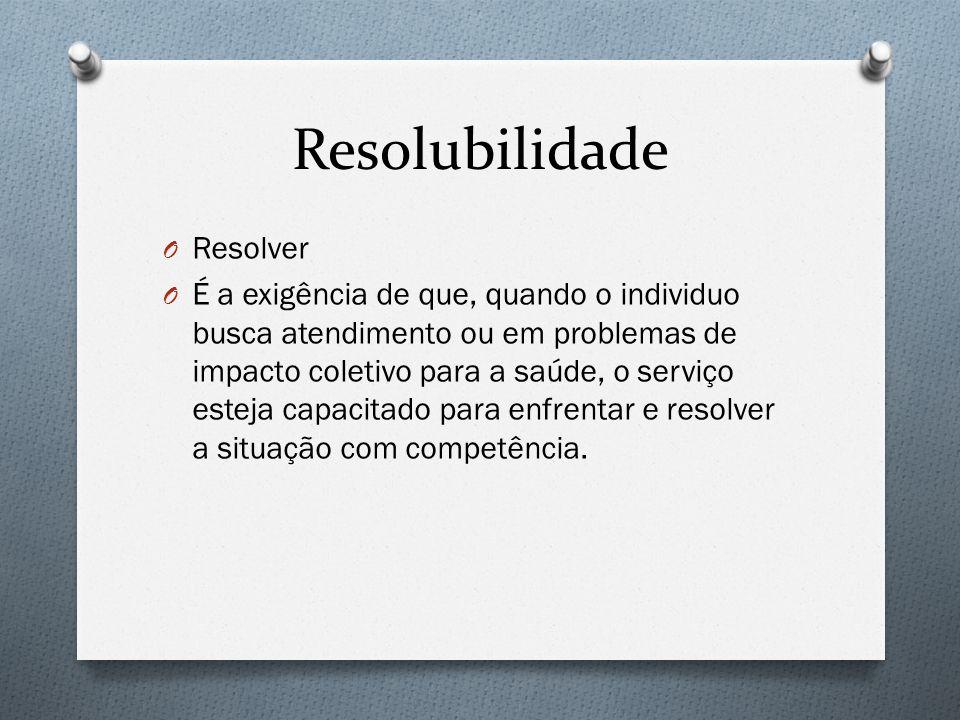 Resolubilidade O Resolver O É a exigência de que, quando o individuo busca atendimento ou em problemas de impacto coletivo para a saúde, o serviço esteja capacitado para enfrentar e resolver a situação com competência.