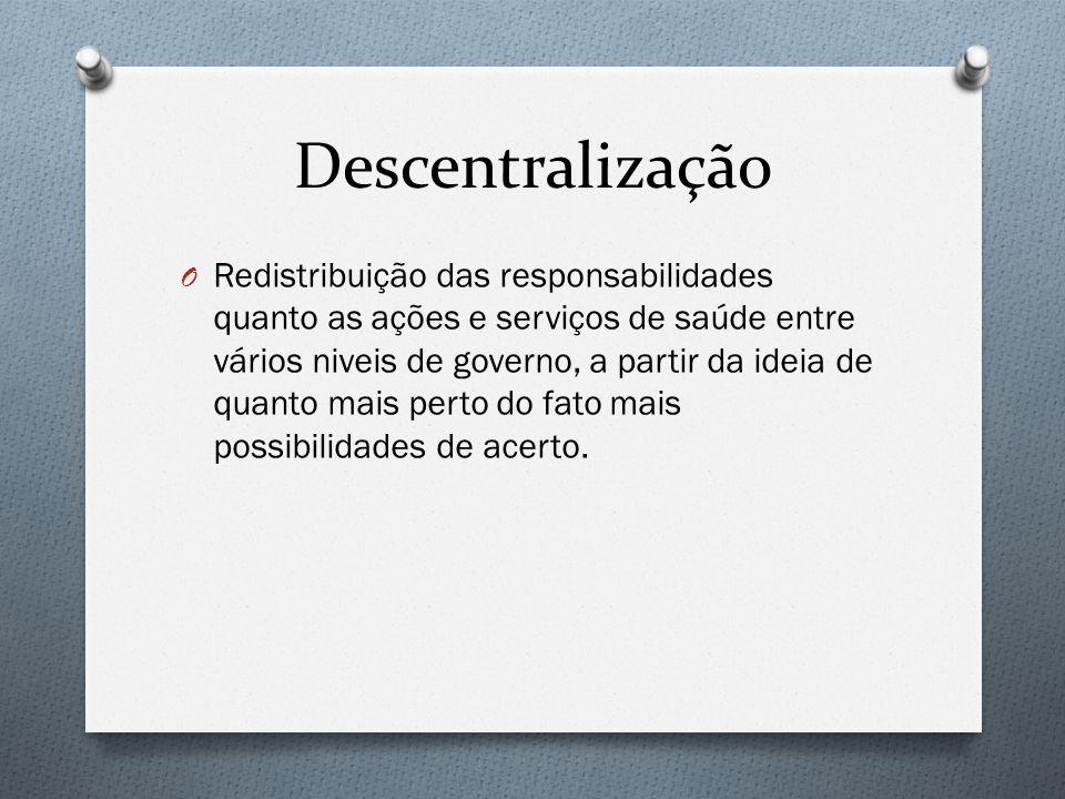 Descentralização O Redistribuição das responsabilidades quanto as ações e serviços de saúde entre vários niveis de governo, a partir da ideia de quanto mais perto do fato mais possibilidades de acerto.