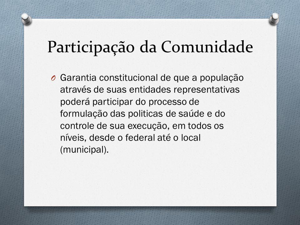 Participação da Comunidade O Garantia constitucional de que a população através de suas entidades representativas poderá participar do processo de formulação das politicas de saúde e do controle de sua execução, em todos os níveis, desde o federal até o local (municipal).