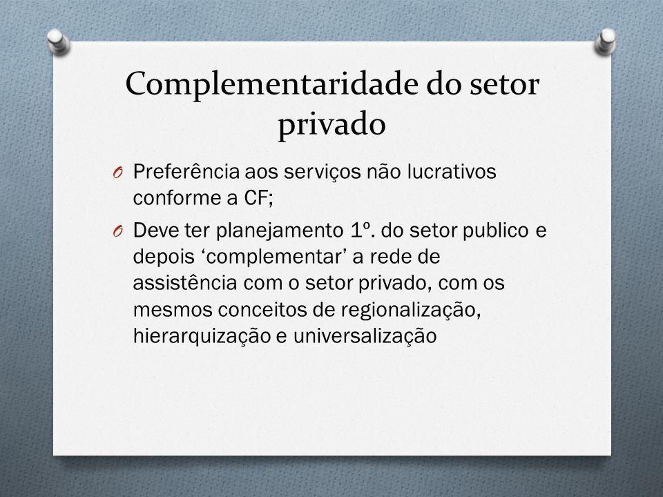 Complementaridade do setor privado O Preferência aos serviços não lucrativos conforme a CF; O Deve ter planejamento 1º. do setor publico e depois 'com