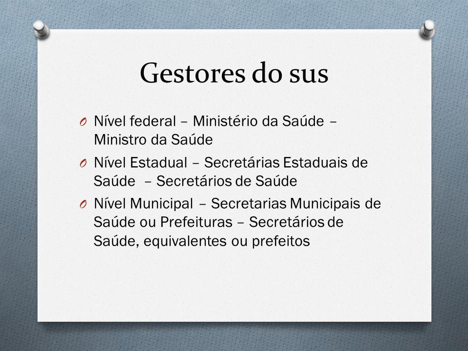 Gestores do sus O Nível federal – Ministério da Saúde – Ministro da Saúde O Nível Estadual – Secretárias Estaduais de Saúde – Secretários de Saúde O N