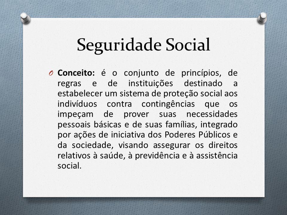 Seguridade Social O Conceito: é o conjunto de princípios, de regras e de instituições destinado a estabelecer um sistema de proteção social aos indiví