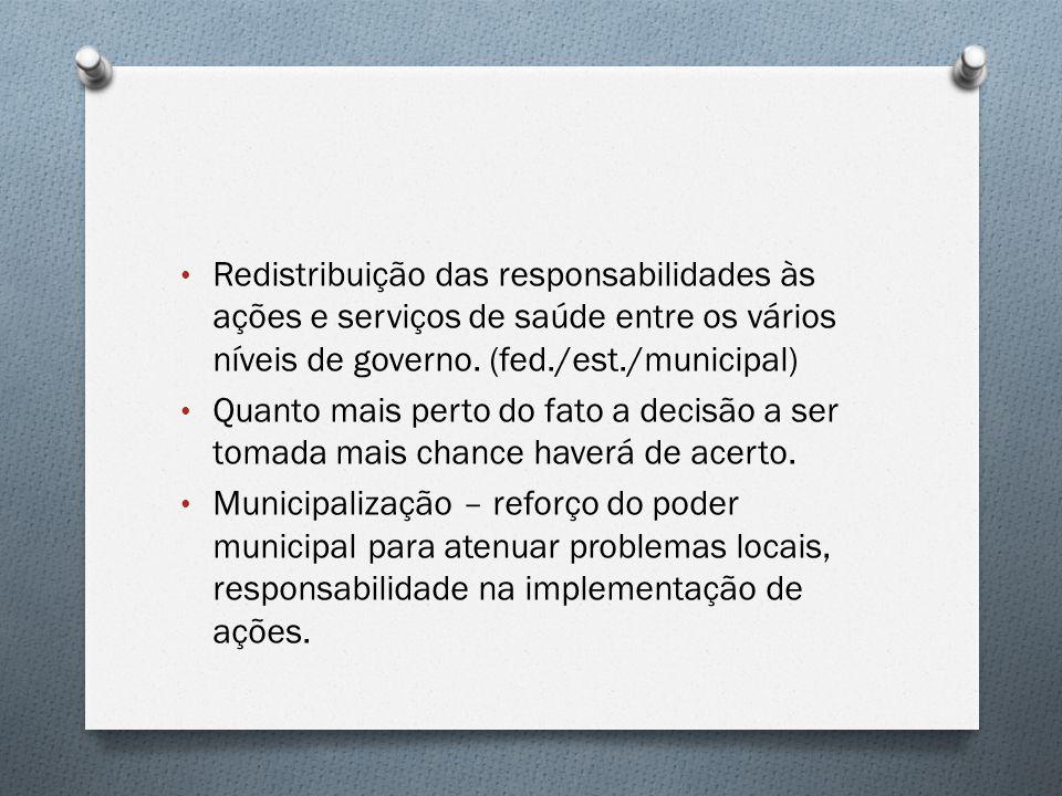 Redistribuição das responsabilidades às ações e serviços de saúde entre os vários níveis de governo. (fed./est./municipal) Quanto mais perto do fato a