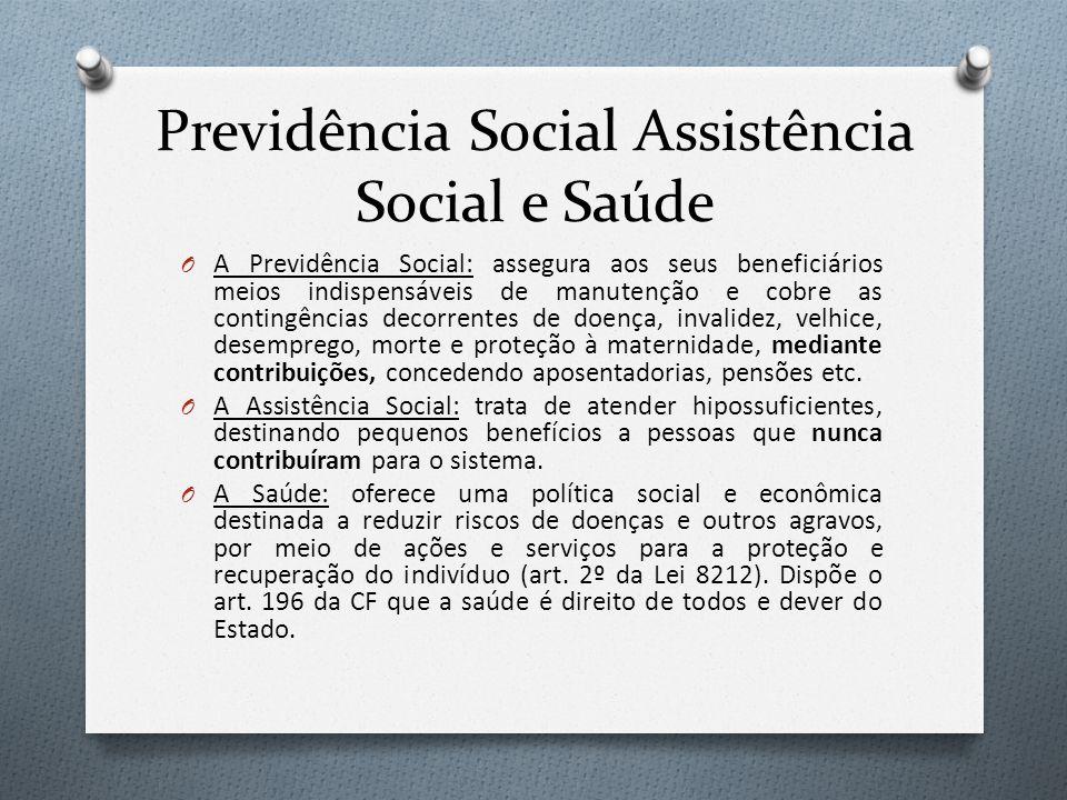 Previdência Social Assistência Social e Saúde O A Previdência Social: assegura aos seus beneficiários meios indispensáveis de manutenção e cobre as co