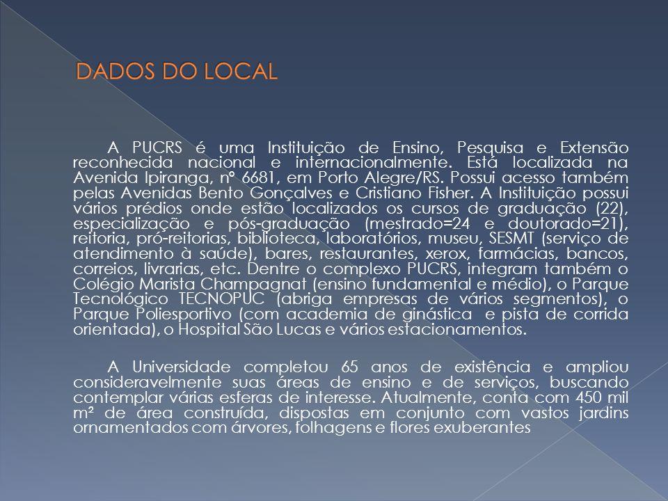 A PUCRS é uma Instituição de Ensino, Pesquisa e Extensão reconhecida nacional e internacionalmente. Está localizada na Avenida Ipiranga, nº 6681, em P