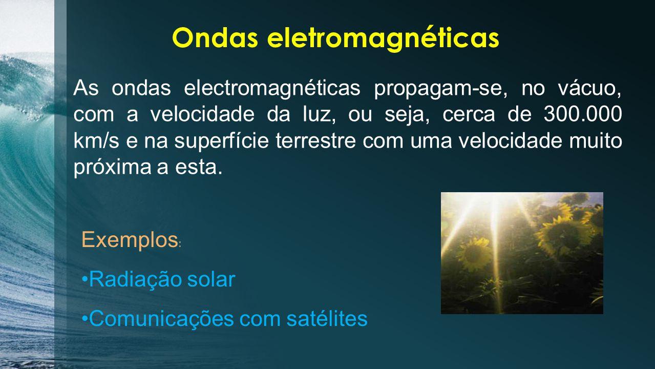 Ondas eletromagnéticas Ondas eletromagnéticas - são uma combinação de um campo elétrico e de um campo magnético, que se propagam numa mesma direção porém em planos perpendiculares, através do espaço transportando energia.campo elétricocampo magnéticoenergia Se pudéssemos ver as ondas eletromagnéticas que viajam a nossa volta, aperceber-nos-íamos de que vivemos imersos num mar repleto destas ondas.