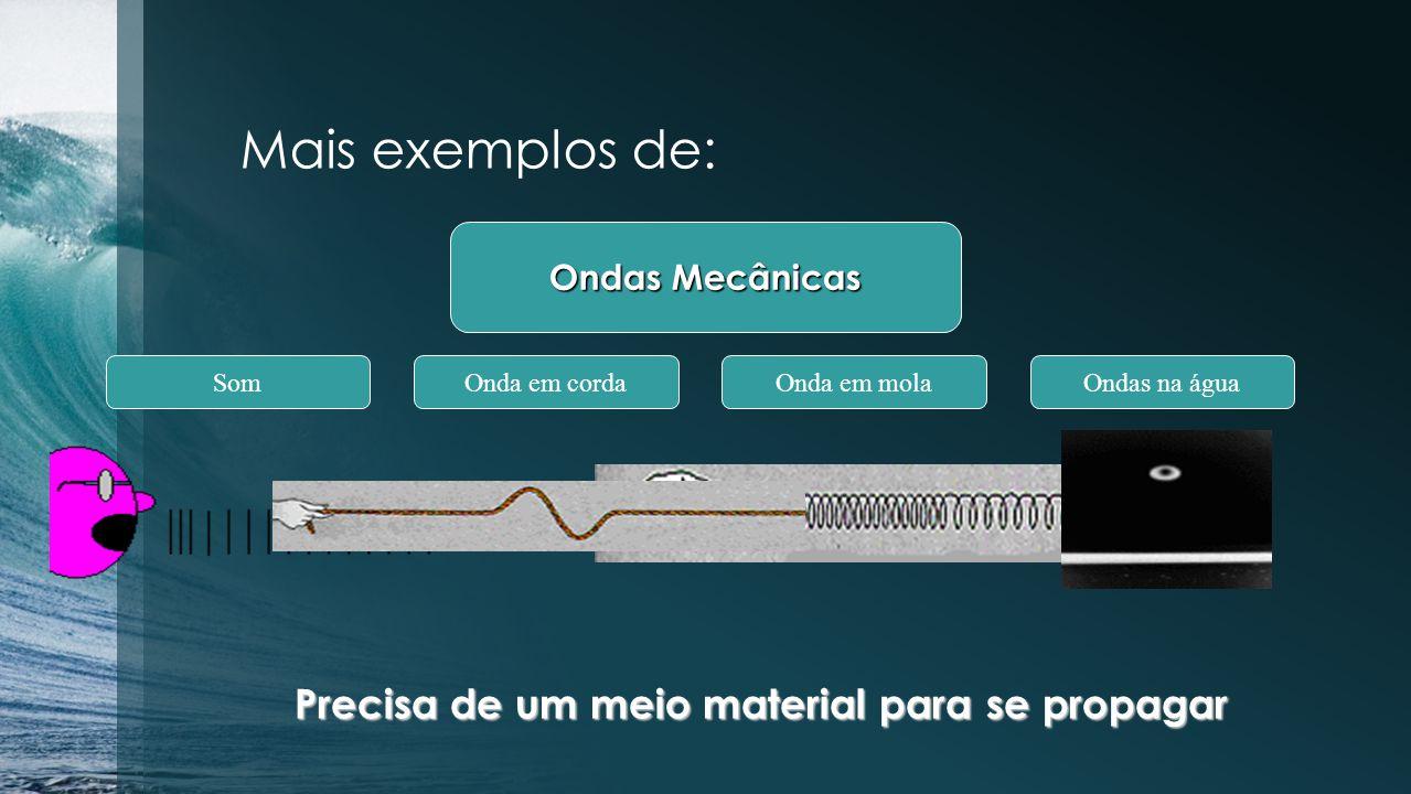 NATUREZA DAS ONDAS Ondas mecânicas: São aquelas originadas pela deformação de uma região de um meio elástico e que, para se propagarem, necessitam de um meio material.