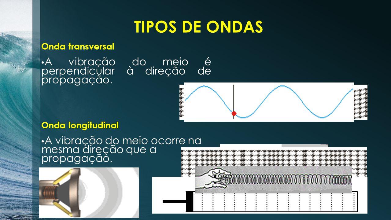 TIPOS DE ONDAS Onda transversal A vibração do meio é perpendicular à direção de propagação.