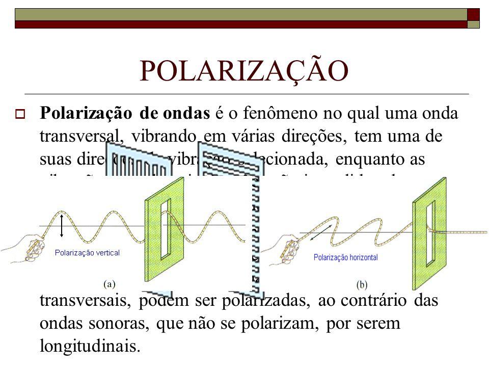  Polarização de ondas é o fenômeno no qual uma onda transversal, vibrando em várias direções, tem uma de suas direções de vibração selecionada, enqua