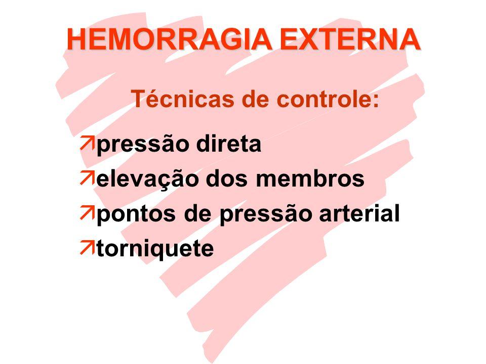 HEMORRAGIA EXTERNA äpressão direta äelevação dos membros äpontos de pressão arterial ätorniquete Técnicas de controle: