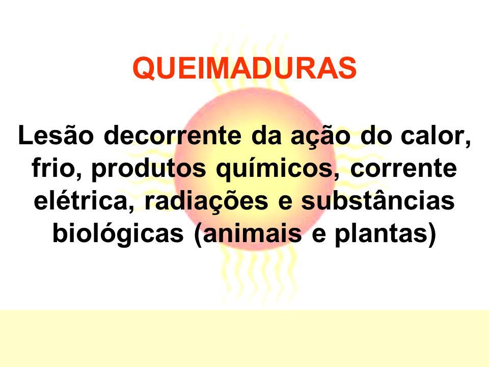 QUEIMADURAS Lesão decorrente da ação do calor, frio, produtos químicos, corrente elétrica, radiações e substâncias biológicas (animais e plantas)