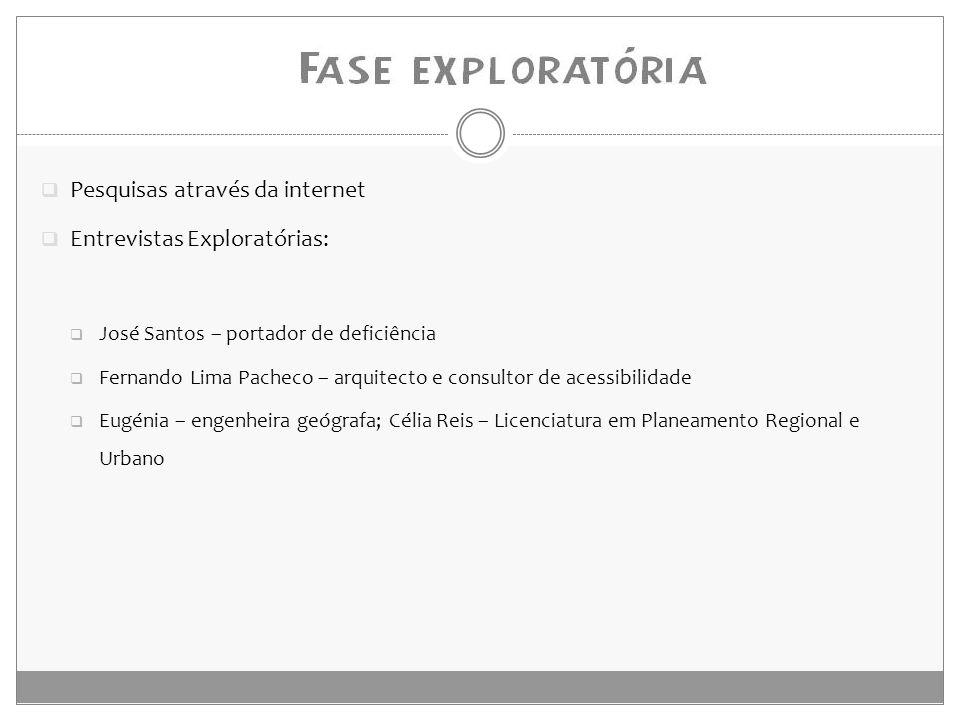  Pesquisas através da internet  Entrevistas Exploratórias:  José Santos – portador de deficiência  Fernando Lima Pacheco – arquitecto e consultor