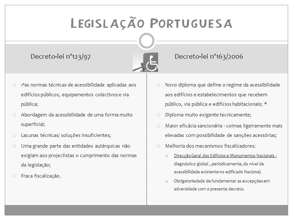 1ªas normas técnicas de acessibilidade aplicadas aos edifícios públicos, equipamentos colectivos e via pública;  Abordagem da acessibilidade de uma