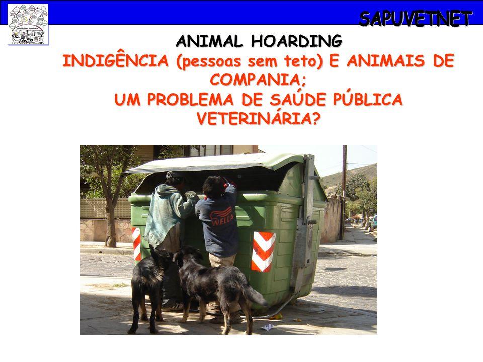 ANIMAL HOARDING INDIGÊNCIA (pessoas sem teto) E ANIMAIS DE COMPANIA; UM PROBLEMA DE SAÚDE PÚBLICA VETERINÁRIA?