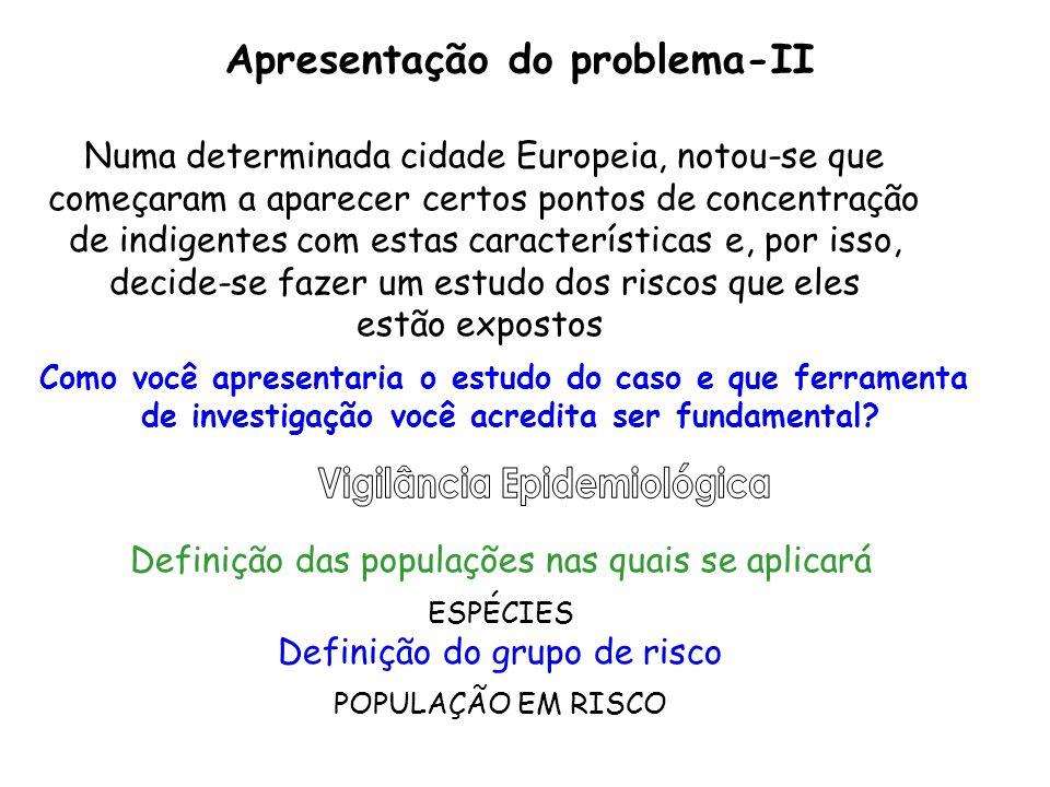 Definição das populações nas quais se aplicará ESPÉCIES Definição do grupo de risco POPULAÇÃO EM RISCO Apresentação do problema-II Numa determinada ci