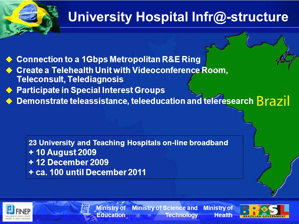 Ministry of Health Ministry of Science and Technology Ministry of Education University Hospital Infr@-structure  Connection to a 1Gbps Metropolitan R&E Ring  Create a Telehealth Unit with Videoconference Room, Teleconsult, Telediagnosis  Participate in Special Interest Groups  Demonstrate teleassistance, teleeducation and teleresearch 23 University and Teaching Hospitals on-line broadband + 10 August 2009 + 12 December 2009 + ca.