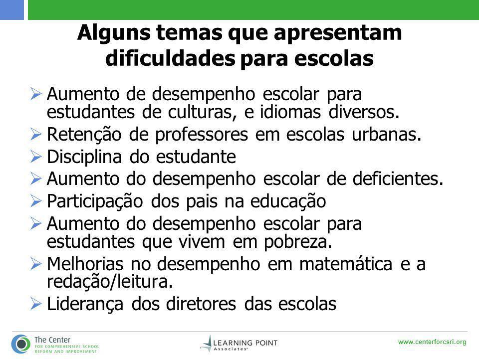 www.centerforcsri.org Alguns temas que apresentam dificuldades para escolas  Aumento de desempenho escolar para estudantes de culturas, e idiomas diversos.