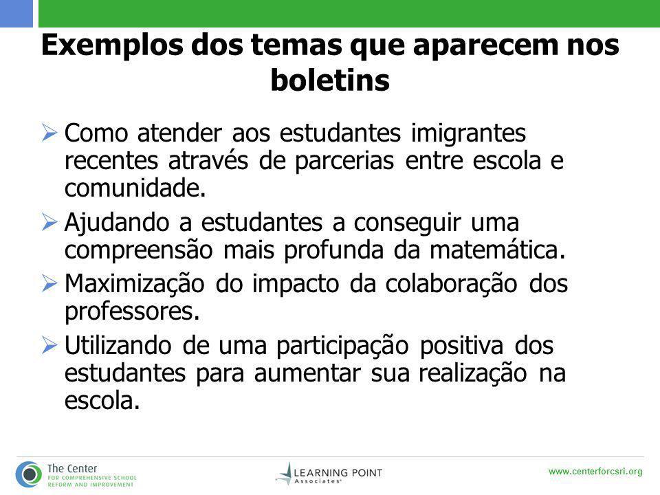 www.centerforcsri.org Exemplos dos temas que aparecem nos boletins  Como atender aos estudantes imigrantes recentes através de parcerias entre escola