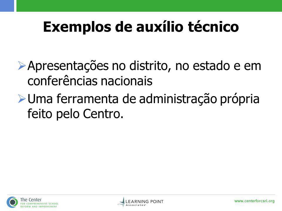www.centerforcsri.org Exemplos de auxílio técnico  Apresentações no distrito, no estado e em conferências nacionais  Uma ferramenta de administração