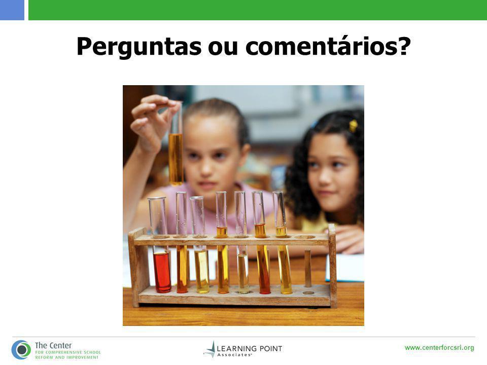 www.centerforcsri.org Perguntas ou comentários?