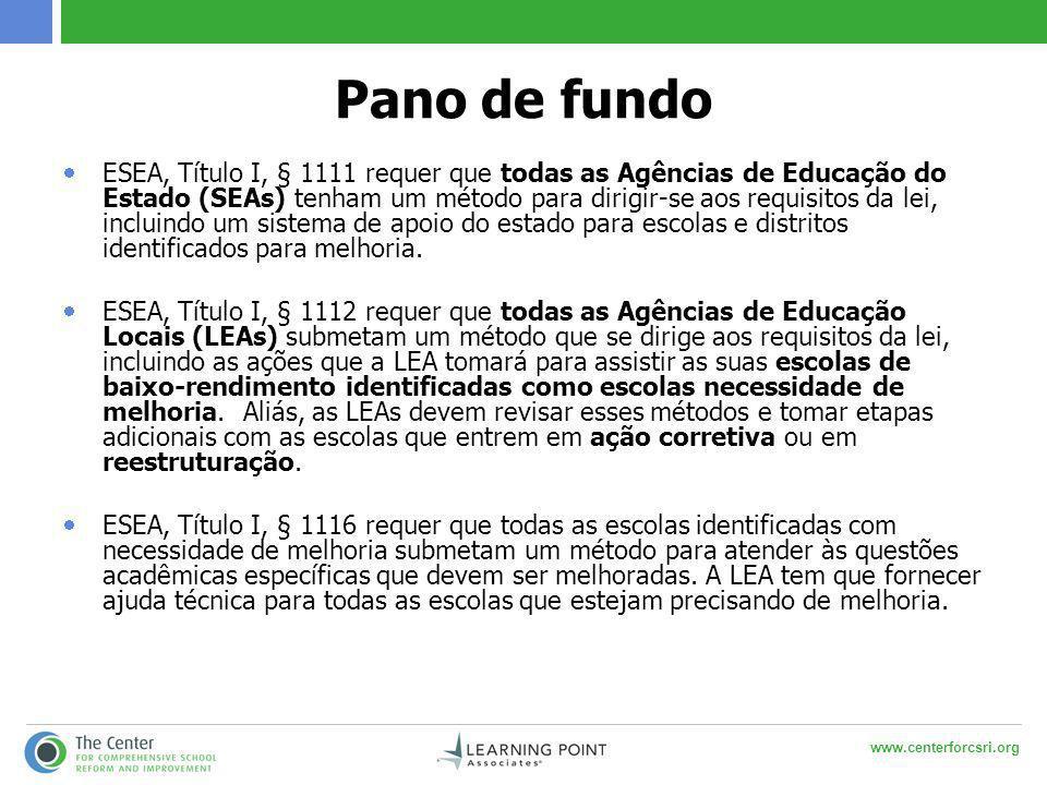 www.centerforcsri.org Pano de fundo  ESEA, Título I, § 1111 requer que todas as Agências de Educação do Estado (SEAs) tenham um método para dirigir-s