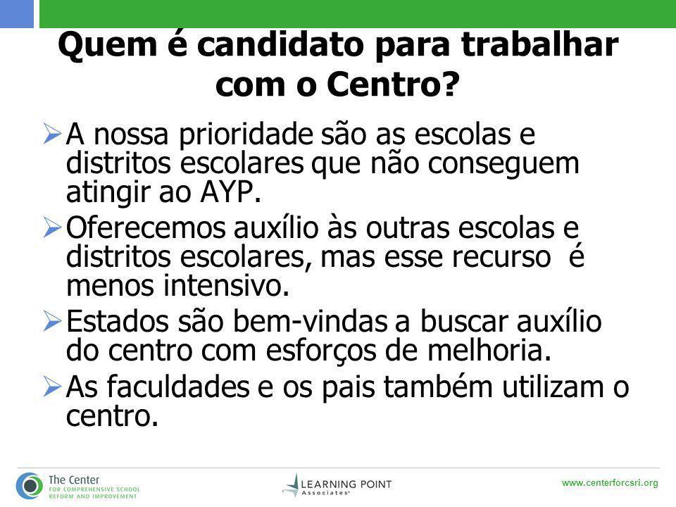 www.centerforcsri.org Quem é candidato para trabalhar com o Centro.