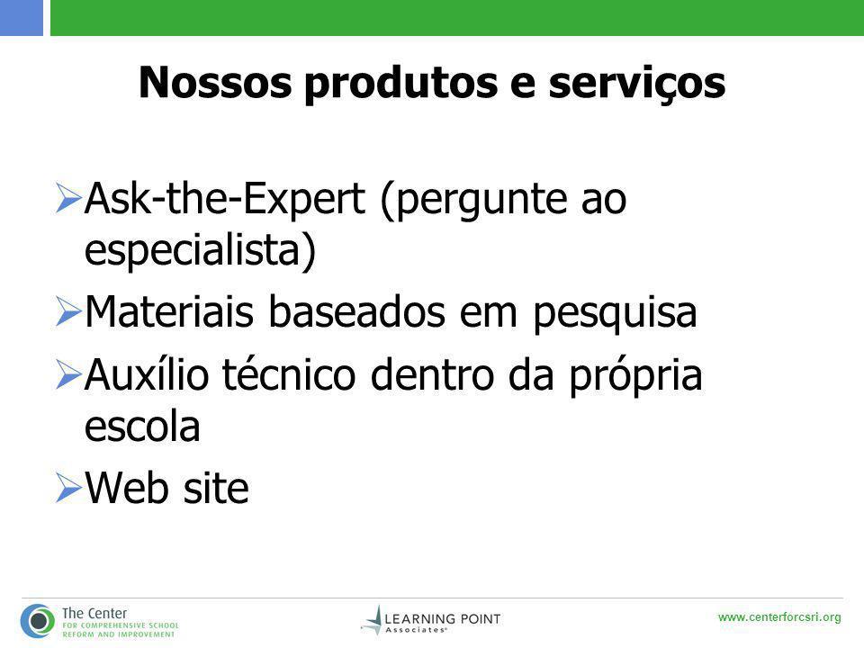 www.centerforcsri.org Nossos produtos e serviços  Ask-the-Expert (pergunte ao especialista)  Materiais baseados em pesquisa  Auxílio técnico dentro da própria escola  Web site