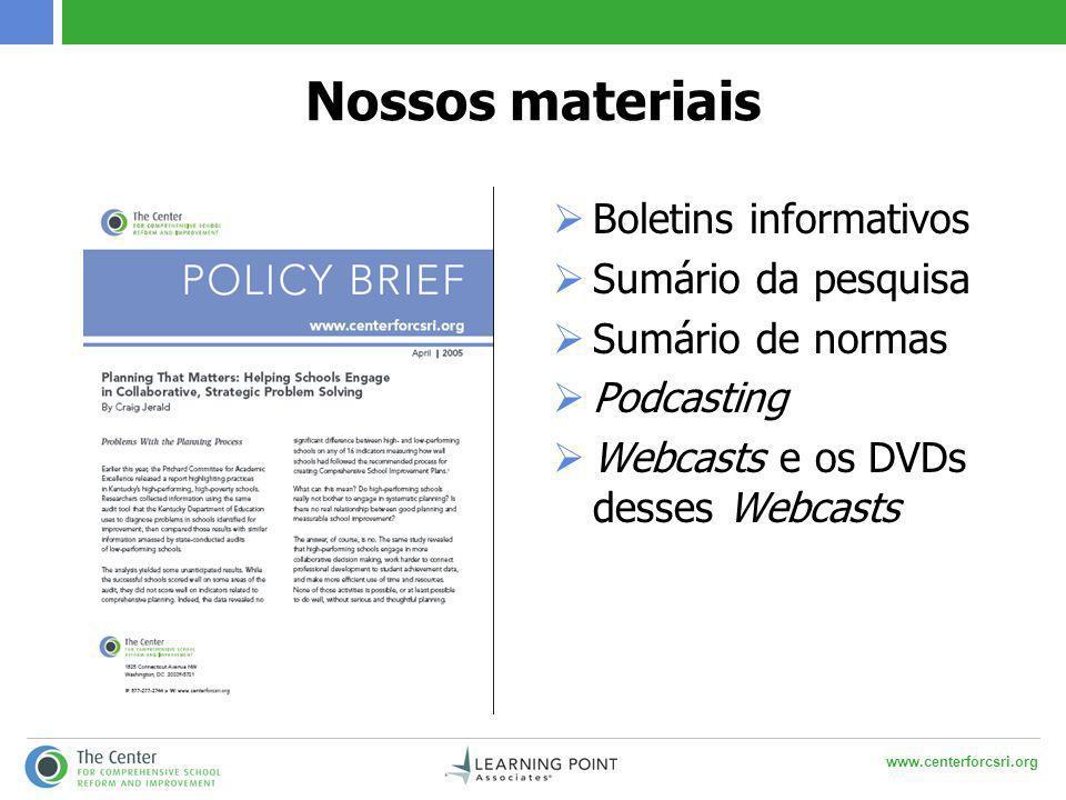 www.centerforcsri.org Nossos materiais  Boletins informativos  Sumário da pesquisa  Sumário de normas  Podcasting  Webcasts e os DVDs desses Webc