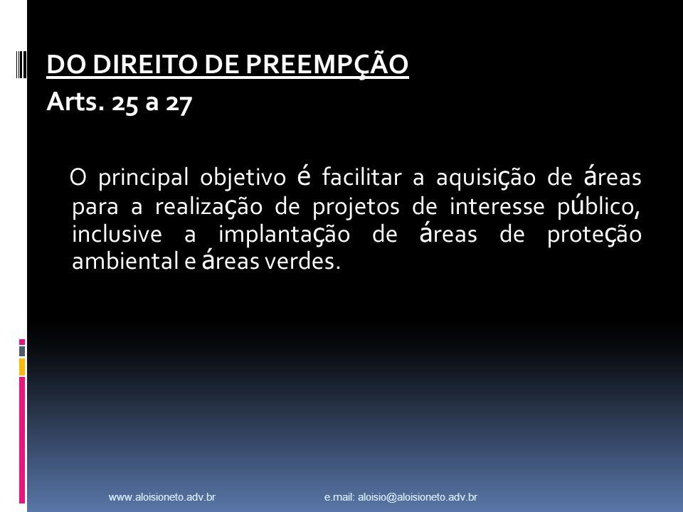 DO DIREITO DE PREEMPÇÃO Arts.