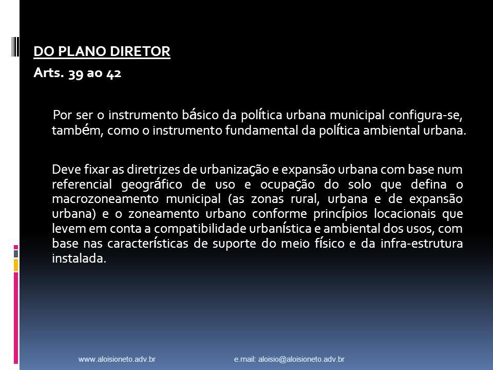 DO PLANO DIRETOR Arts.
