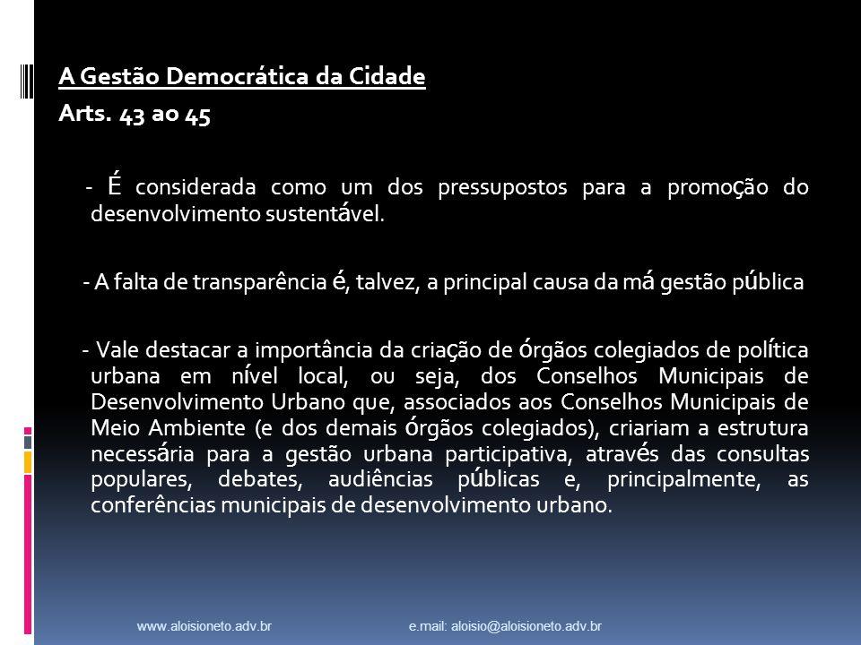 A Gestão Democrática da Cidade Arts.