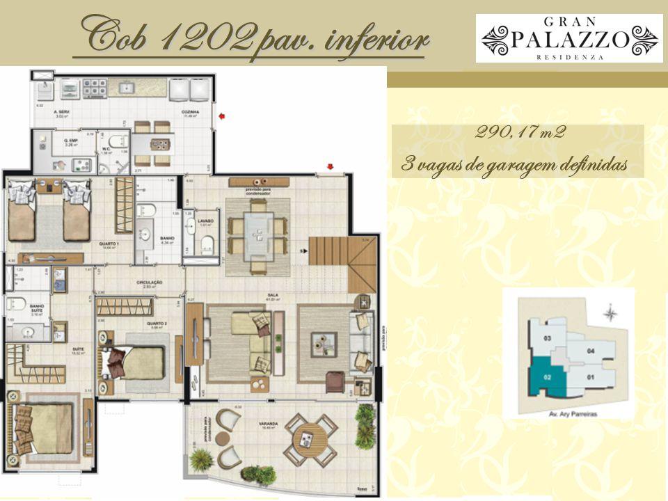 Cob 1202 pav. inferior 290,17 m2 3 vagas de garagem definidas
