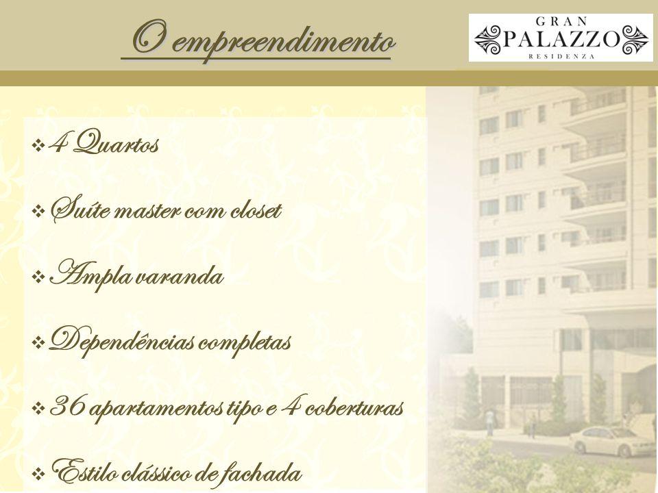 O empreendimento  4 Quartos  Suíte master com closet  Ampla varanda  Dependências completas  36 apartamentos tipo e 4 coberturas  Estilo clássico de fachada