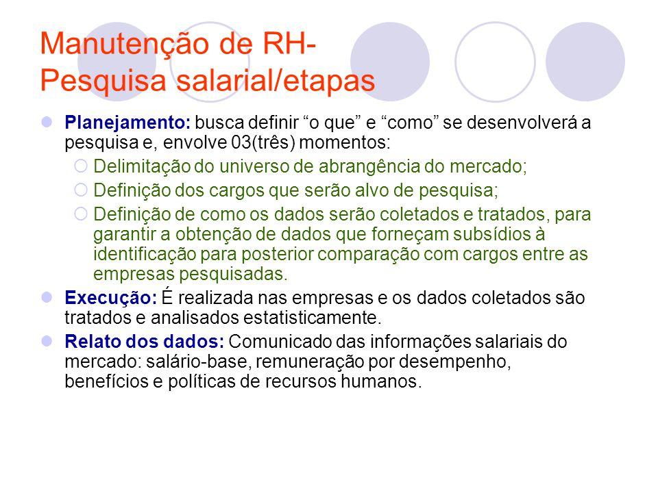 """Manutenção de RH- Pesquisa salarial/etapas Planejamento: busca definir """"o que"""" e """"como"""" se desenvolverá a pesquisa e, envolve 03(três) momentos:  Del"""