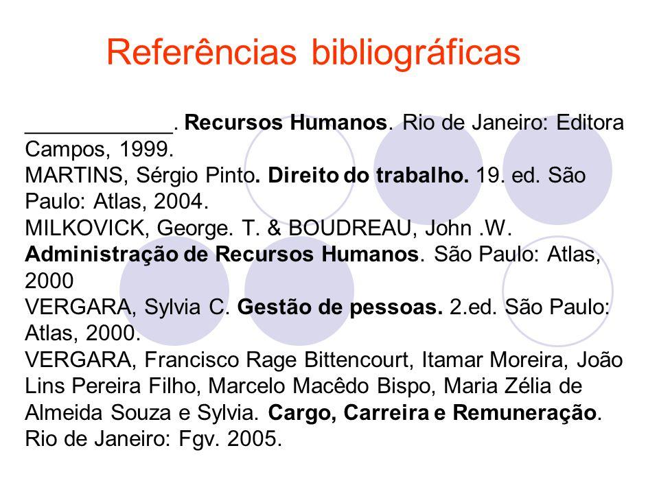 ____________. Recursos Humanos. Rio de Janeiro: Editora Campos, 1999. MARTINS, Sérgio Pinto. Direito do trabalho. 19. ed. São Paulo: Atlas, 2004. MILK