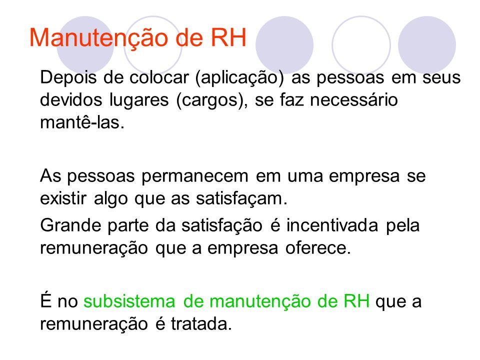Manutenção de RH Depois de colocar (aplicação) as pessoas em seus devidos lugares (cargos), se faz necessário mantê-las. As pessoas permanecem em uma